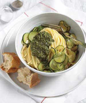 Basil Pesto Pasta With Zucchini and Mint|Now that fresh basil is abundant, it's a great time to make a batch of pesto. It takes just a couple minutes to whip up in your food processor. Paired with sautéed zucchini, it turns plain pasta into an extraordinary summer meal.