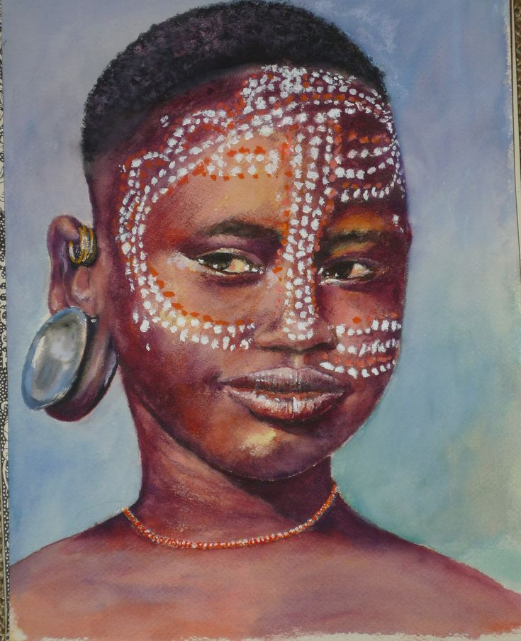 neues-surma-woman-African artwork by margrit | Under the African ...