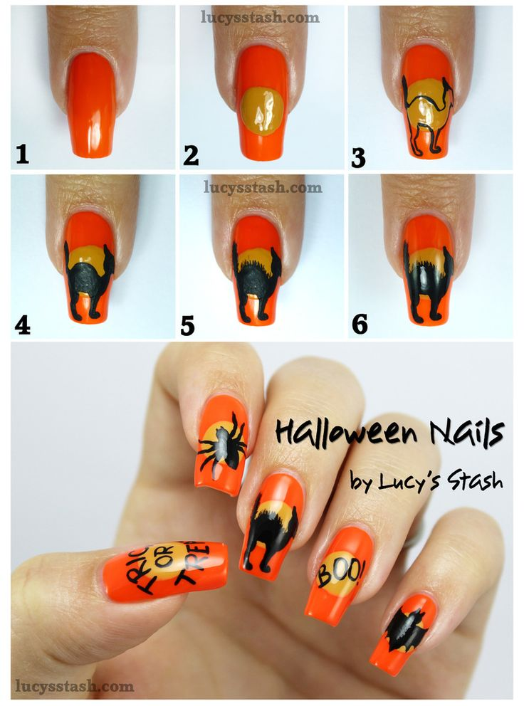 Halloween Mix & Match Nails with SpaRitual. Nail Art. Tutorial / pictorial.  Black cat,  spider.