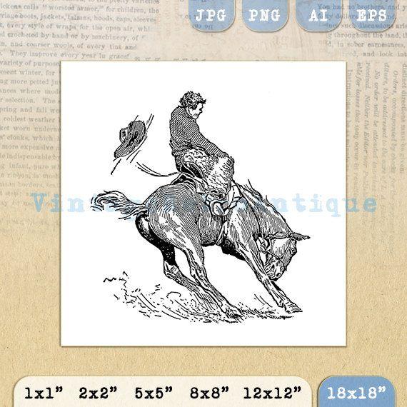 Printable Image Bucking Bronco Horse Cowboy by VintageRetroAntique