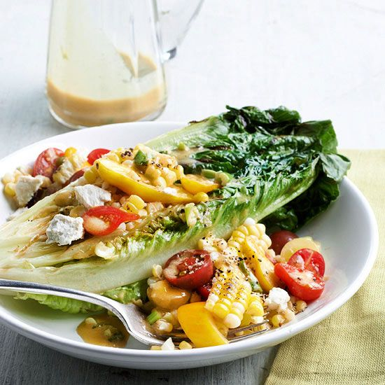 For a new twist on a summer salad, try this Grilled Romaine Salad with Tomato and Corn Tumble. More recipes from the magazine: http://www.bhg.com/recipes/from-better-homes-and-gardens/june-2013-recipes/?socsrc=bhgpin060213grillromaine=9
