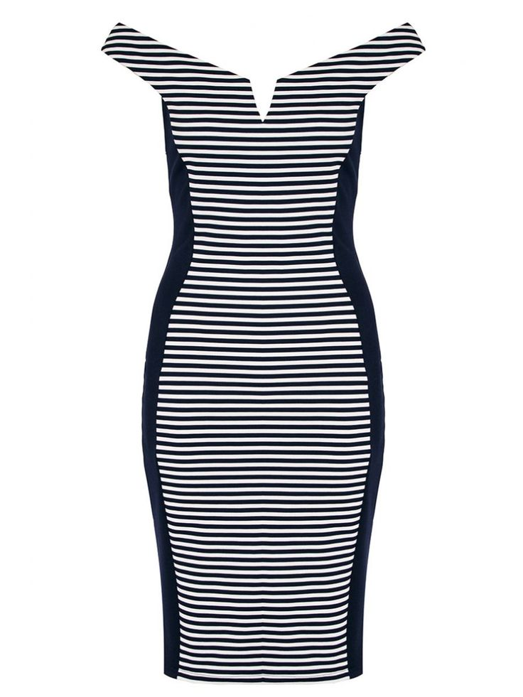 Quiz £24.99 Navy And White Stripe Bardot Panel Dress