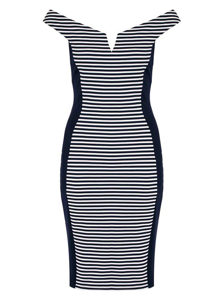 Quiz £24.99 Navy And White Stripe Bardot Panel Dress