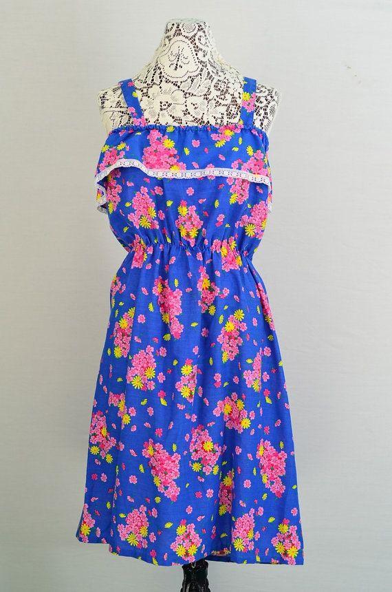 Vintage 1960s - 1970s floral sundress - 60s sundress - 70s sundress  - #retro…