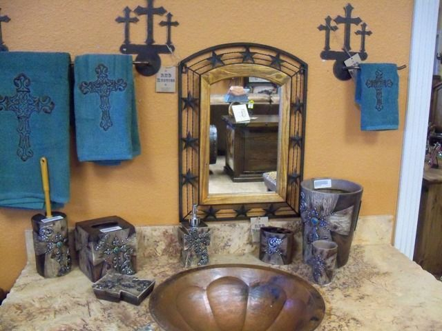 Bathroom Accessories With Crosses western bathroom decor reining horse design copper metal powder