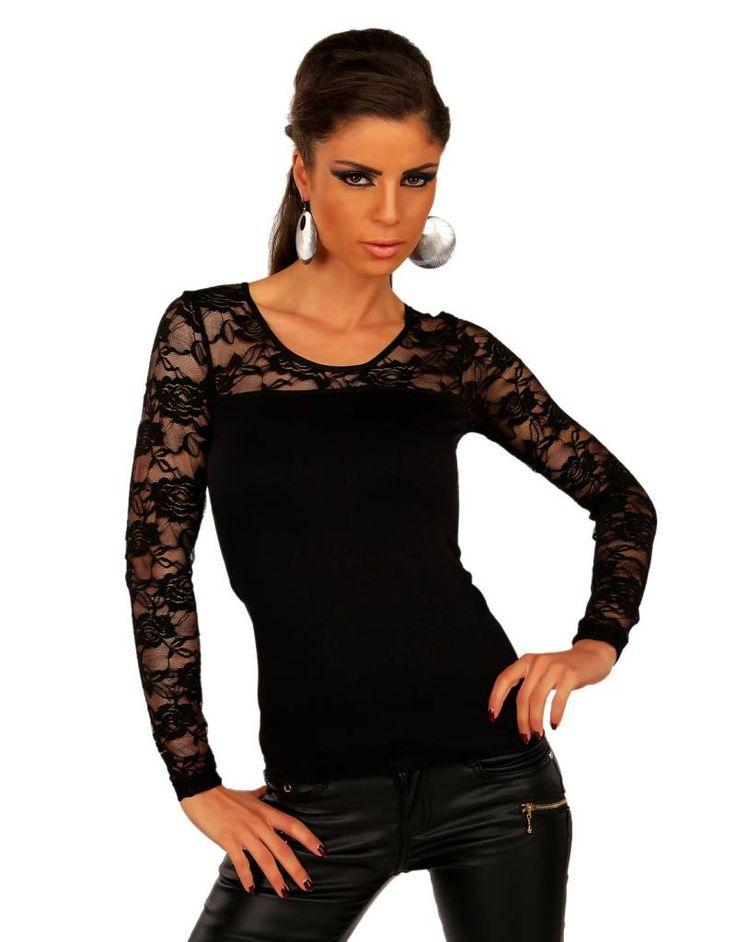 Fashion Blouse met Kanten Mouwen Zwart