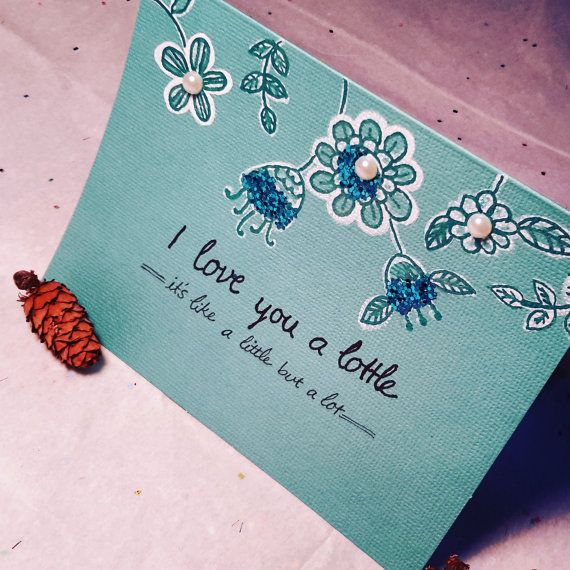 Hand painted and hand lettering   Handmade Green/blue romance Card, Love Card, Unique love Card, Elegant valentine Card