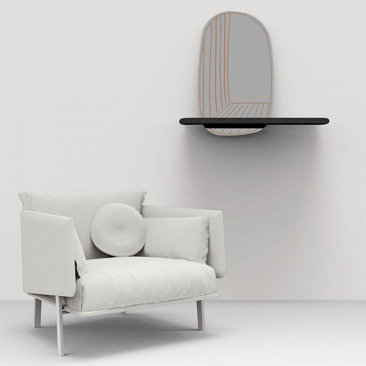 specchio da parete con mensola New Perspective Mirror Bonaldo
