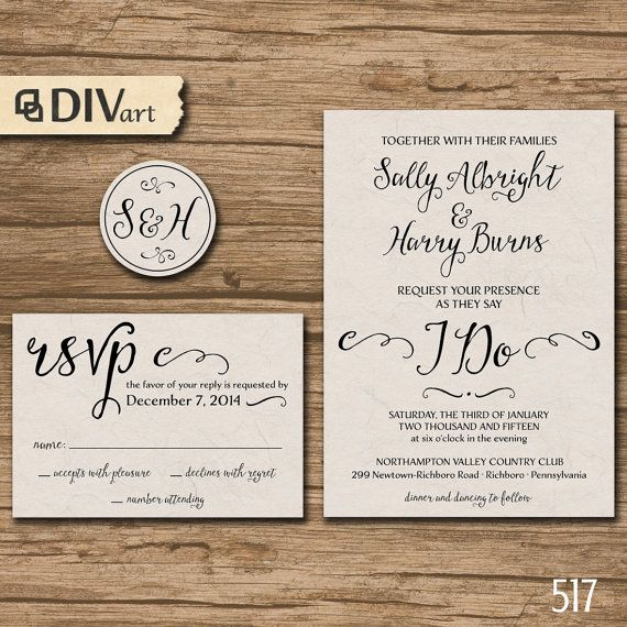 19 best wedding invites images on pinterest brown paper kraft printable diy wedding invitation suite response card by divart solutioingenieria Choice Image