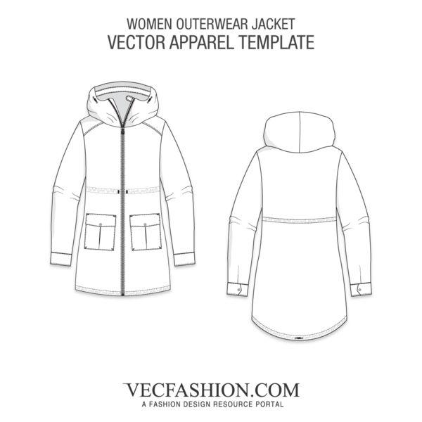 fbcae142ff Women Outerwear Jacket Template   Apparel Vector   Outerwear women, Jackets,  Women