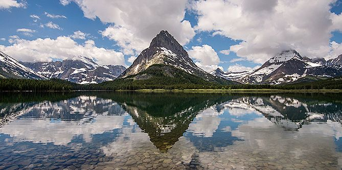 View of Swiftcurrent Lake and Grinnell Point from the Many Glacier Hotel