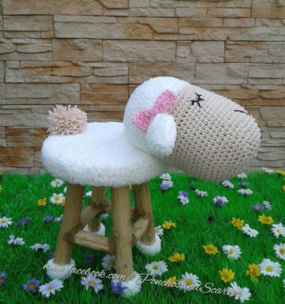 Home sheep decorationcrochet sheepsheep stool by CrochetTreasury