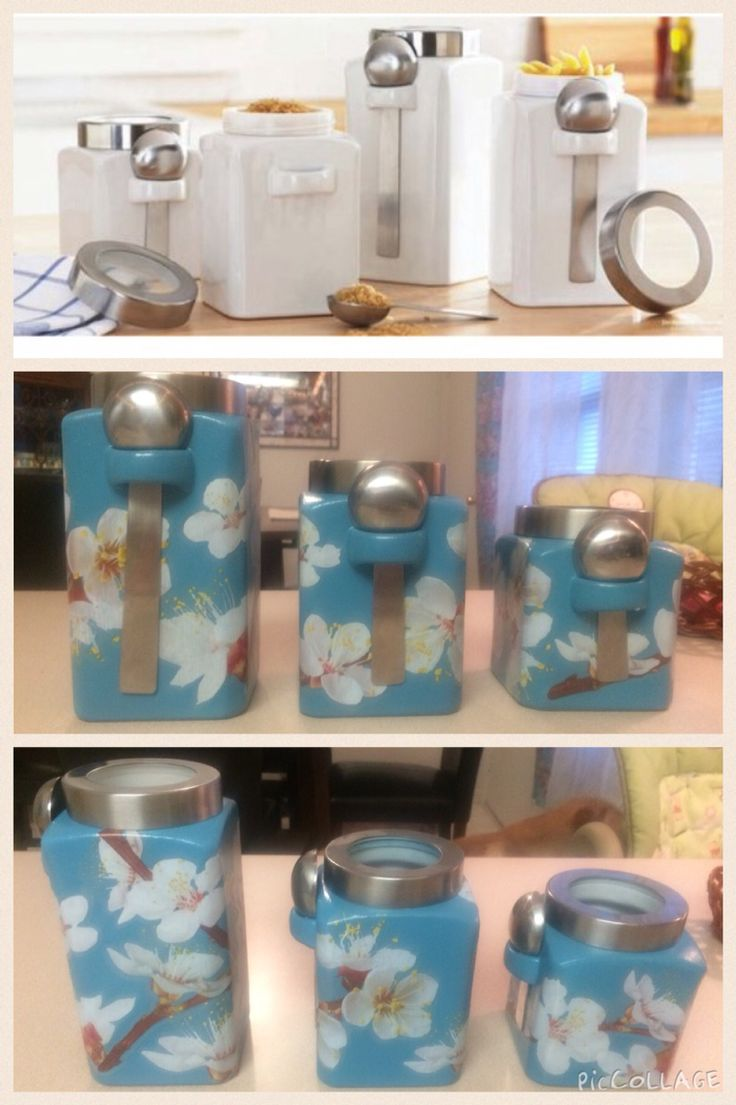 Before and after of Ceramic canisters that I got from Walmart! Spray paint and wall decals! I recommend using spray paint that has primer in it!