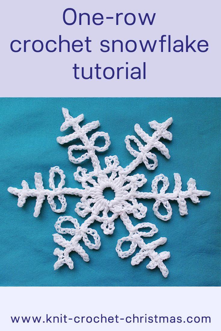 1-row crochet snowflake pattern, videotutorial