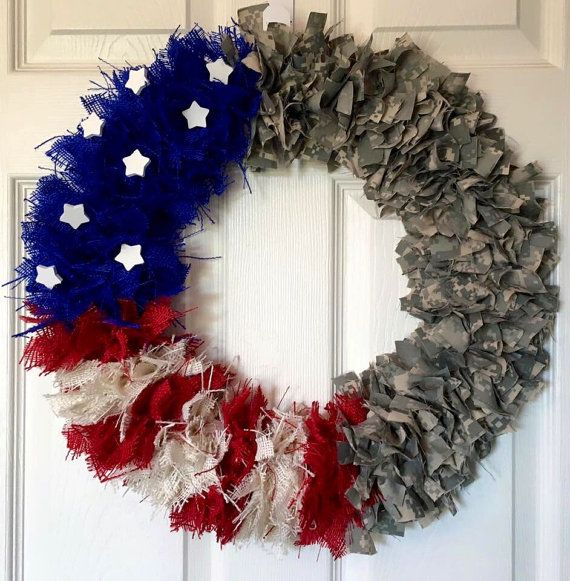 Army/Air force Wreath Camouflage Wreath 4th of July by DaraJDecor