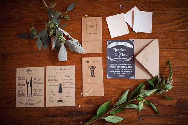 Rustic Kraft Paper Wedding Invitation