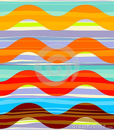 Geometric abstract seamless pattern. Random stripes and regular waves in bright colors
