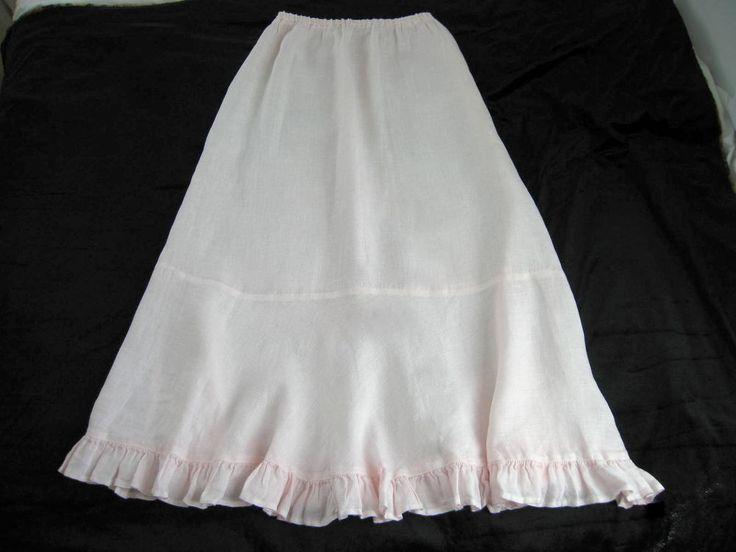 CP Shades Sausalito Light Pink Linen Ruffled Prairie Skirt Elastic Waist Sz M #CPShades #PeasantBoho