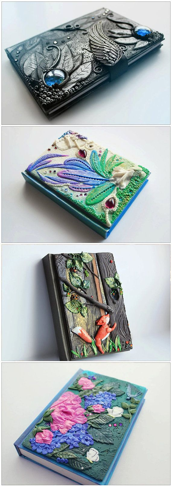 Polymer clay hand sculpted journal covers by amandarinduck. Glass drop cabochons and Swarovski crystals.