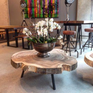 Wohnzimmertisch Couchtisch Massivholztisch Baumscheibe Holztisch In Mitte