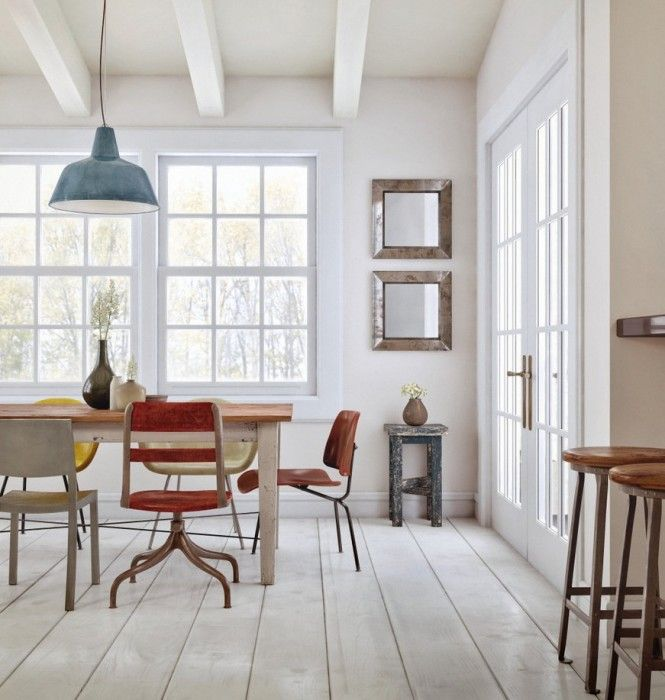 Love the wood floors and recycled chairs