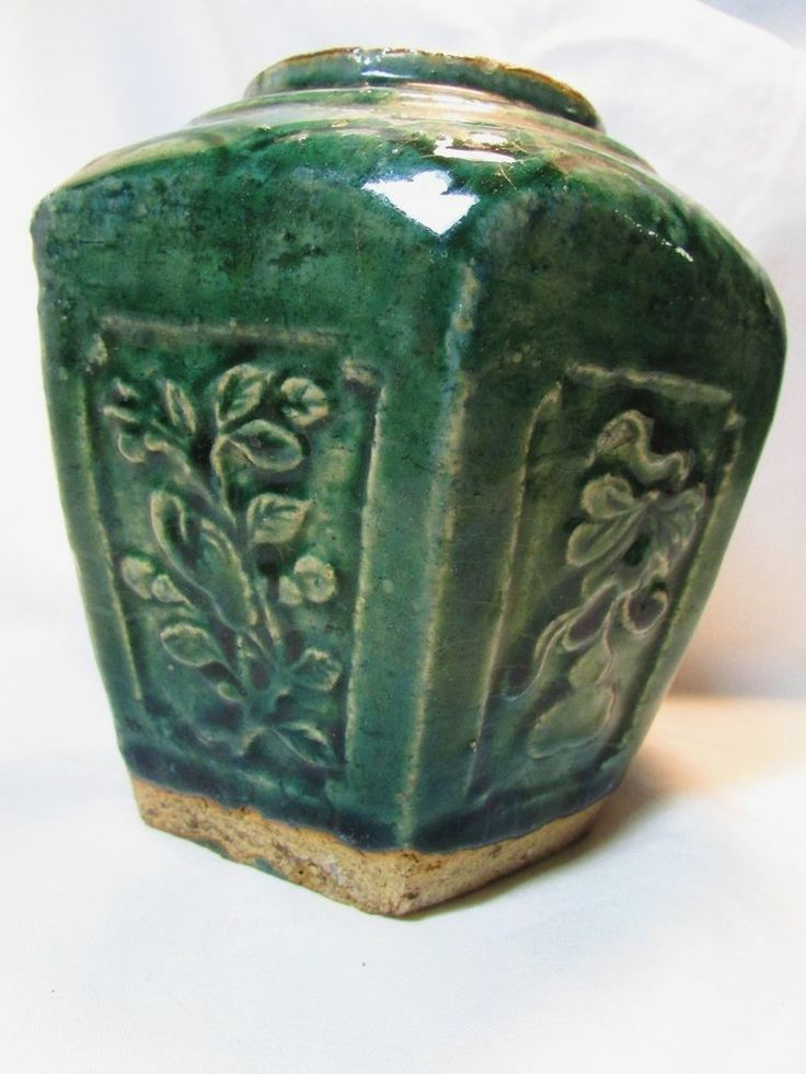 Antique Chinese Drip Pottery Shiwan Jade Green Glazed Ginger Spice Jar No Lid
