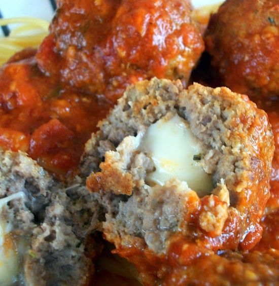Recipe for Mozzarella Stuffed Meatballs - These are great on top of spaghetti and they also make fantastic meatball hoagies!