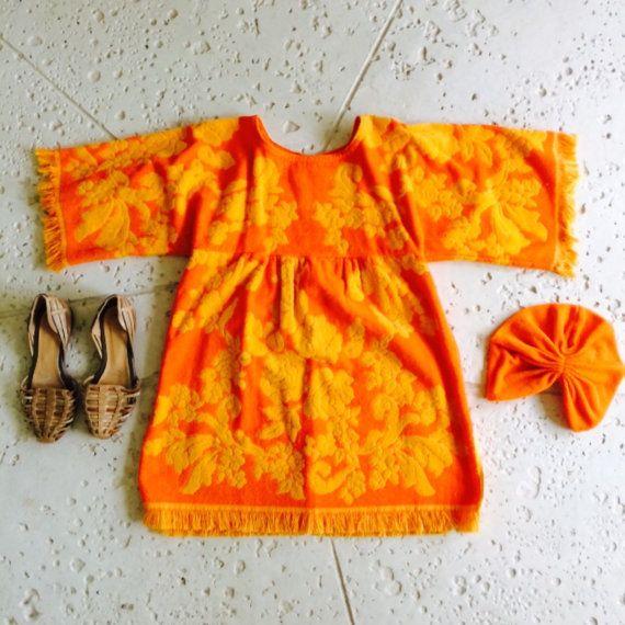 Totally Radical Orange Floral Towel Dress    +Bell Sleeve  +Back Zip Closure  +Fun + Flirty throw back  + Empire waist    Found in Palm Beach