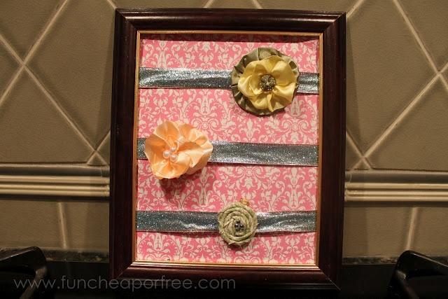Repurposing Pretty wrapping ribbon to make it into a hairclip holder!Bows Holders, Diy Ideas, Hair Clips, Cute Ideas, Fun Cheap, Flower Clips, Baby Girls, Hair Bows, Free Queens
