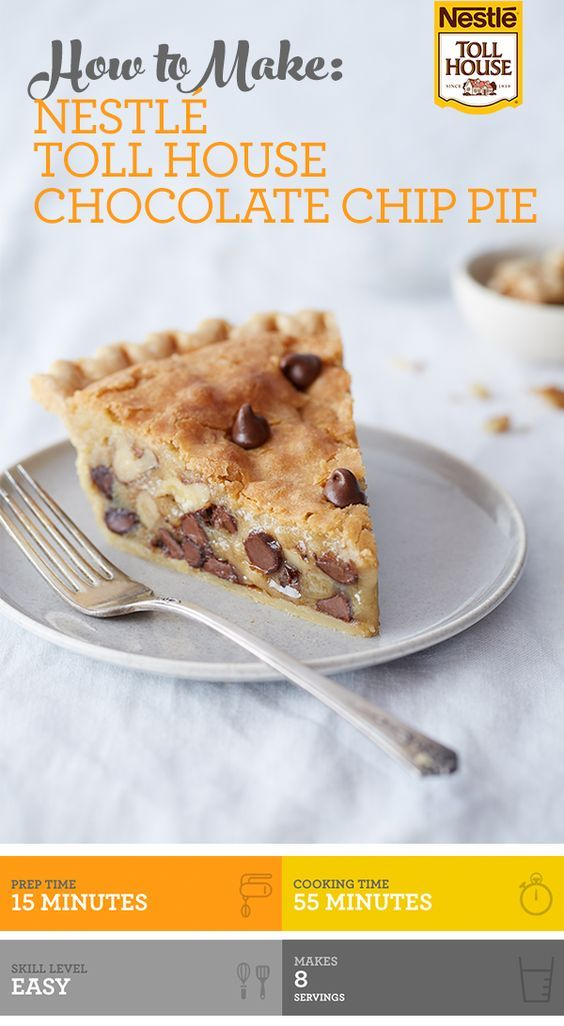A Toll House classic - Chocolate Chip Pie! This easy dessert features the sweet, creamy richness of a brown sugar base combined with chopped nuts and delicious chocolate chips. Enjoy warm with whipped cream or ice cream!