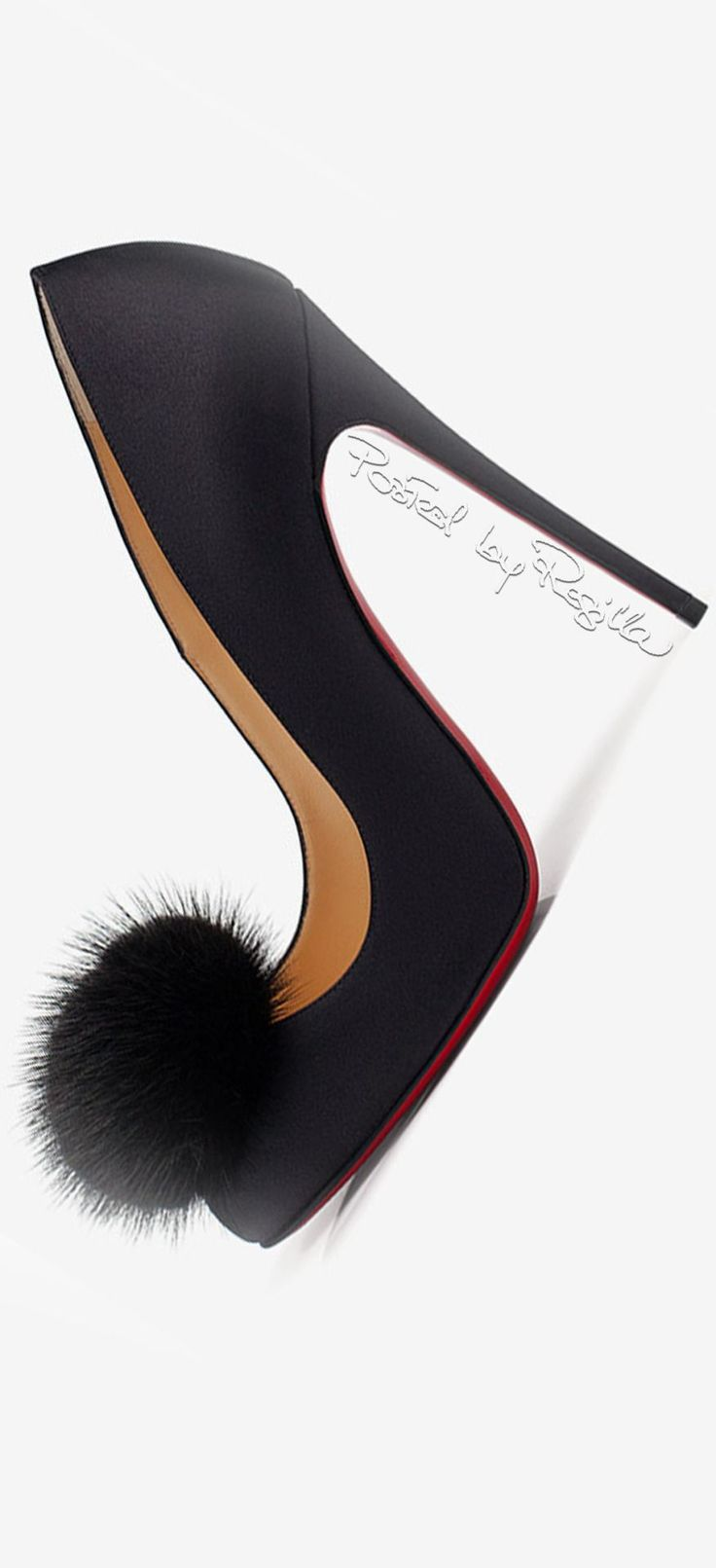 Black Christian Louboutin Red Bottoms High Heels with Ball of Fur on the Toe