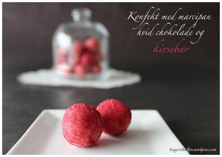 Konfekt med marcipan og kirsebær