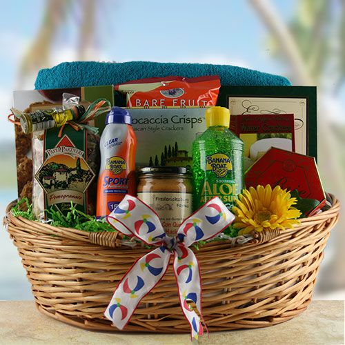 25 unique travel gift basket ideas ideas on pinterest travel beach basket ideas summer gift ideas just add sunscreen summer gift basket design negle Images