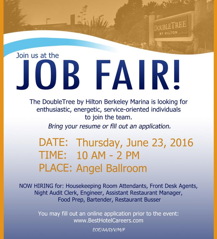 Join us at the JOB FAIR! See you there Please bring your resume - fill out a resume