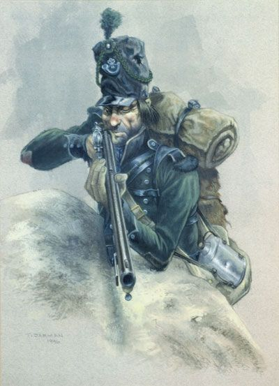 A British army 95th Regiment rifleman, print from original watercolour by T.Jarman.