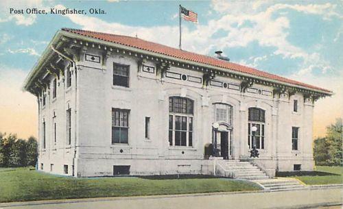 KINGFISHER-Oklahoma-OK-POST-OFFICE-ca-1910s-Postcard