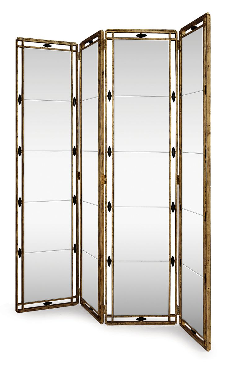 elegant mirrored and wrought iron decorative room divider screen 3 and 4 panel designs in the manner of gilbert poillerat