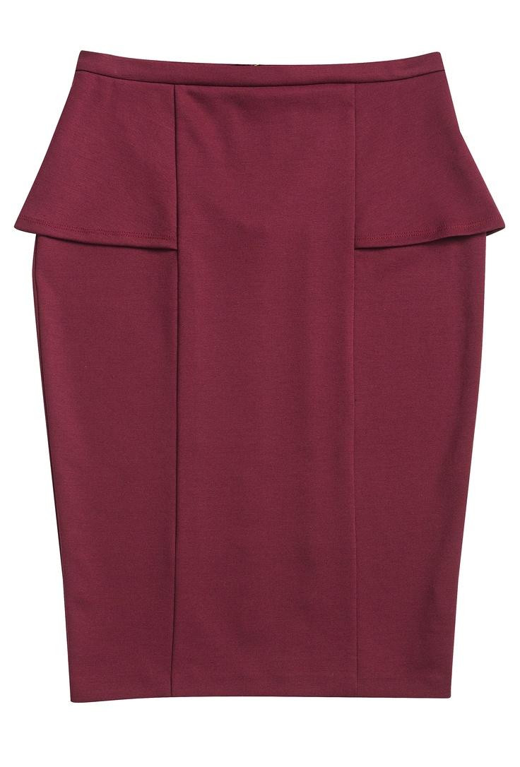 Burgundy Peplum Skirt