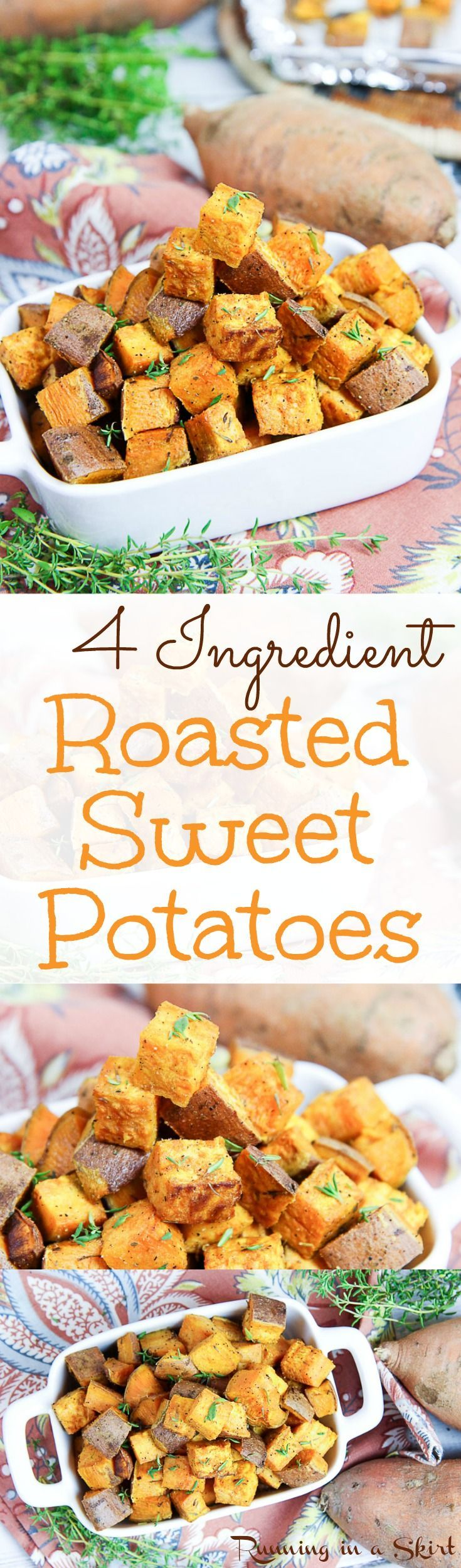 4 Ingredient Healthy Roasted Sweet Potato Bites recipe.  The best oven roasted savory, simple and easy crispy sweet potatoes.  A quick, clean eating side dish and simply the best way to cook them. Eat year-round or even for Thanksgiving! / Running in a Skirt