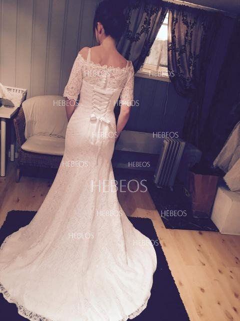 751976642ce Trumpet Mermaid Off-the-Shoulder 1 2 Sleeves Lace Sweep Brush Train Wedding  Dresses - Wedding Dresses - Hebeos Online