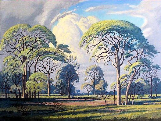 Bushveld landscape painting by Jacobus Hendrik Pierneef (1886-1957) South African Art, Art Galleries in South Africa, South African Artists Photograph by Gunther Stephan.