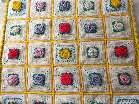 Crochet Rose Double Sided Baby Blanket  32 X 32