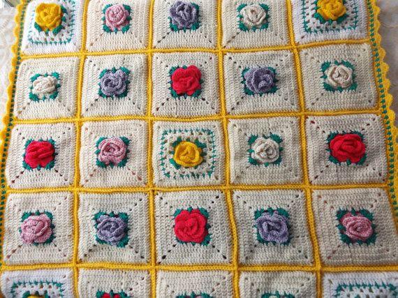 Crochet Rose Double Sided Baby Blanket  32 X 32