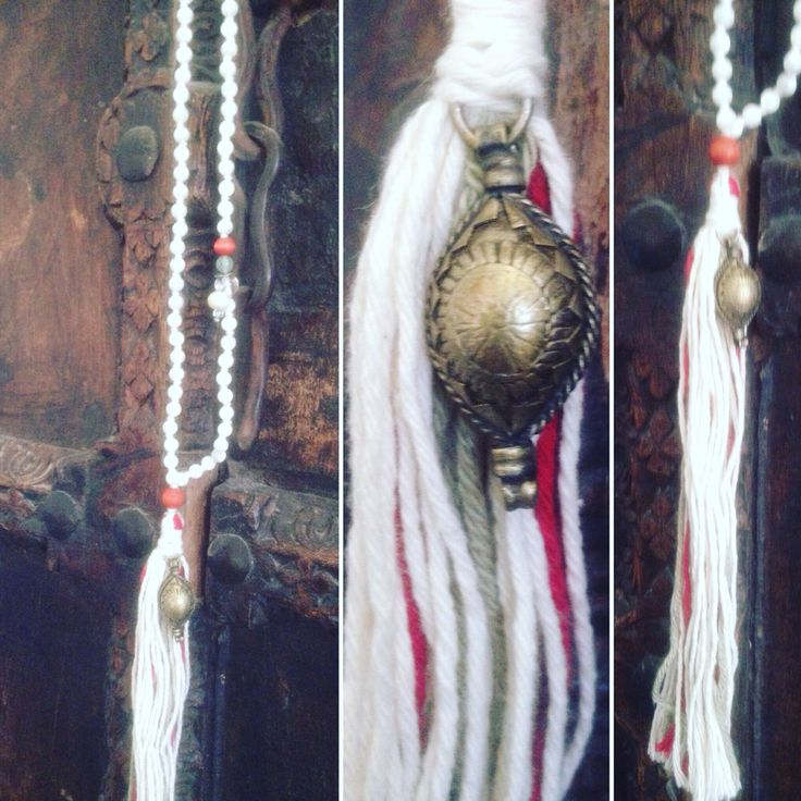 """Beautiful mala necklace """"Dance"""" handmade with love & intention from reclaimed, antique and organic material. The bright white beads are made from gemstone Mother of Pearl. Made by Shinseina Jewellery, Norway x"""