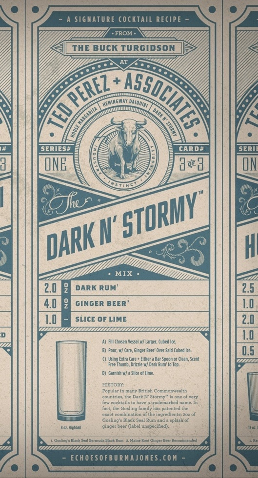 Dark and stormy #cocktail recipe card. Love the line work in the #illustration.