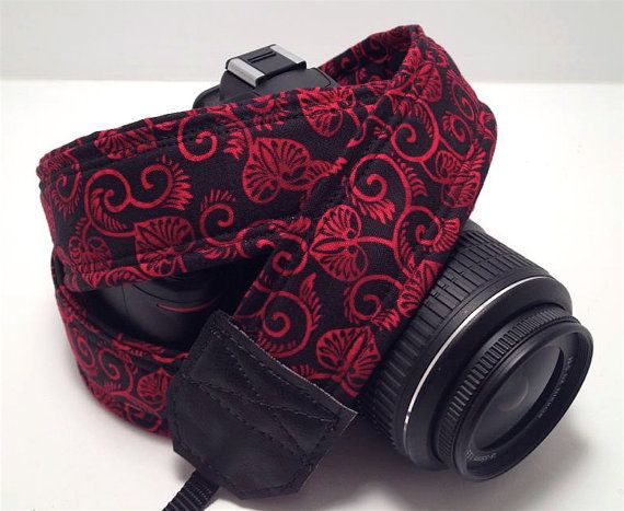 Camera Strap DSLR Camera Strap Red and Black by StarlightStraps