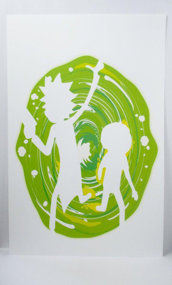 Rick y Morty porta cartel por PosterSlinger en Etsy