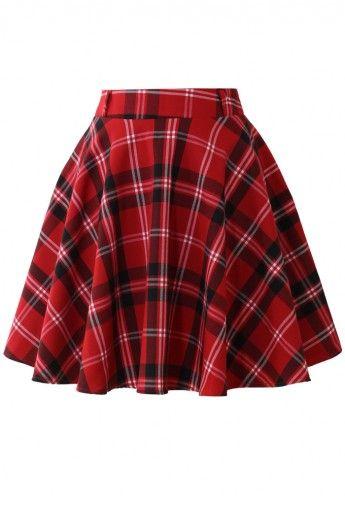 Red Plaid Check Skater Skirt