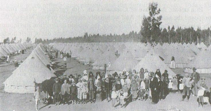 Boer War -- a British concentration camp, c. 1901