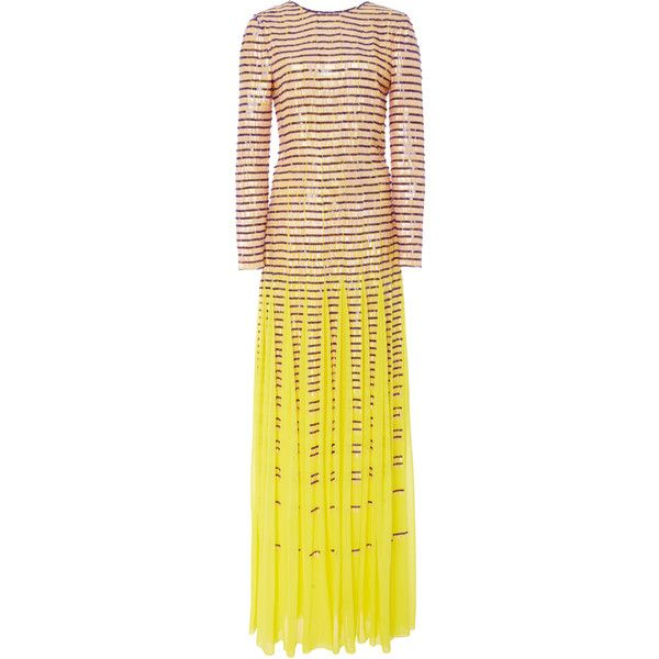 Carolina Herrera Matchstick Embroidered Gown ($11,490) ❤ liked on Polyvore featuring dresses, gowns, yellow, long sleeve ball gowns, embroidered gown, long sleeve evening gowns, yellow silk dress and long sleeve dress